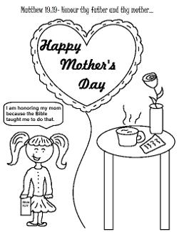 Mother's Day Coloring Pages For Sunday School