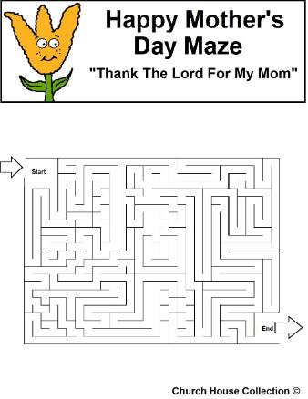 Mother's Day Maze Thank The Lord For My Mom
