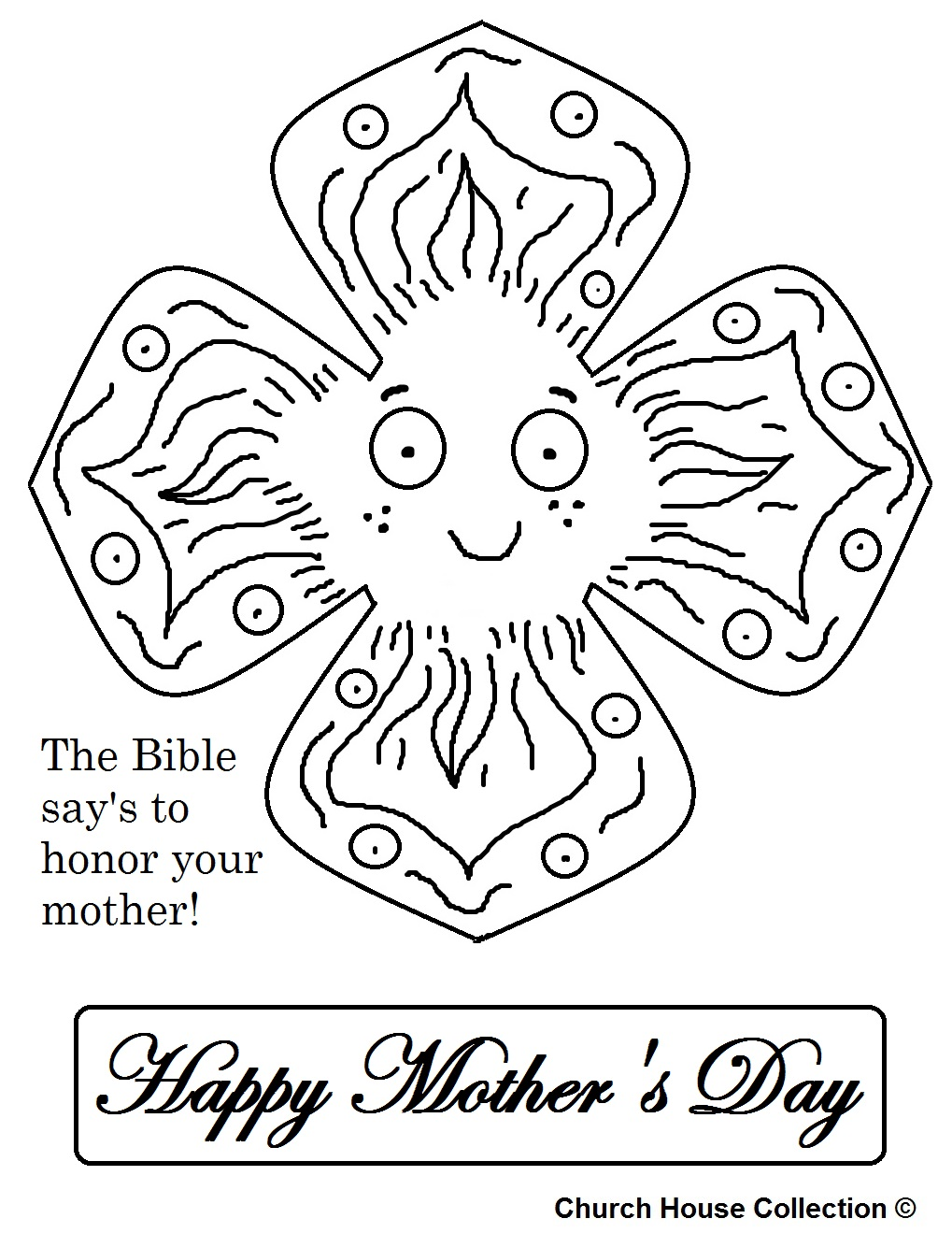 Mothers Day Poppy Flower Coloring Page
