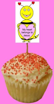 My Heart Belongs To Jesus Valentine Bee Cupcake