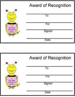 My heart belongs to Jesus Award Certificates Valentine's Day Bee Sunday school or Children's Church