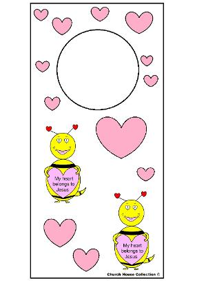 My heart belongs to Jesus Valentine's Day Bee Doorknob Hanger For Sunday school or Children's Church