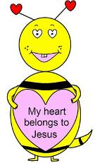 Valentine Sunday School Bible Coloring Pages Free Printable Coloring Sheets- My Heart Belongs To Jesus Coloring pages for preschool kids in children's church ministry. Bumble bee holding a heart cartoon picture by Church House Collection