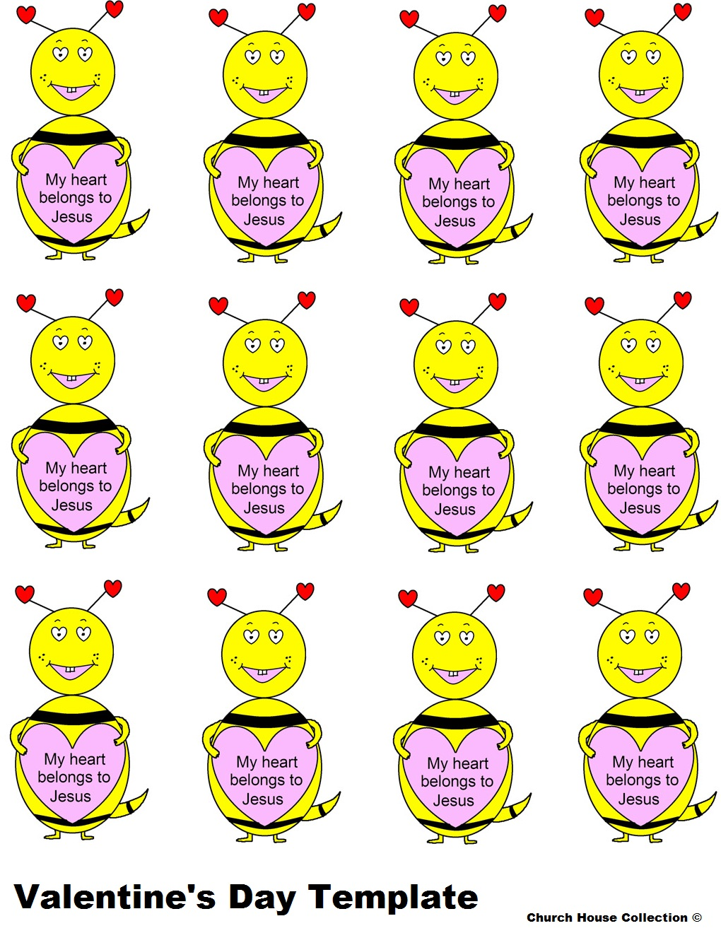 Valentineu0027s Day Bee Template With Words