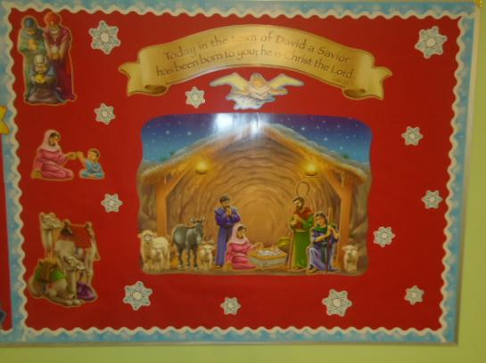 Nativity With Snowflakes Bulletin Board Idea