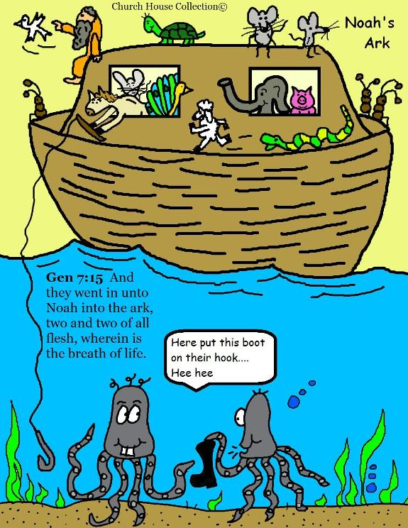 Noah's Ark with animals cartoon clipart image. Genesis 7:15 clipart free image.