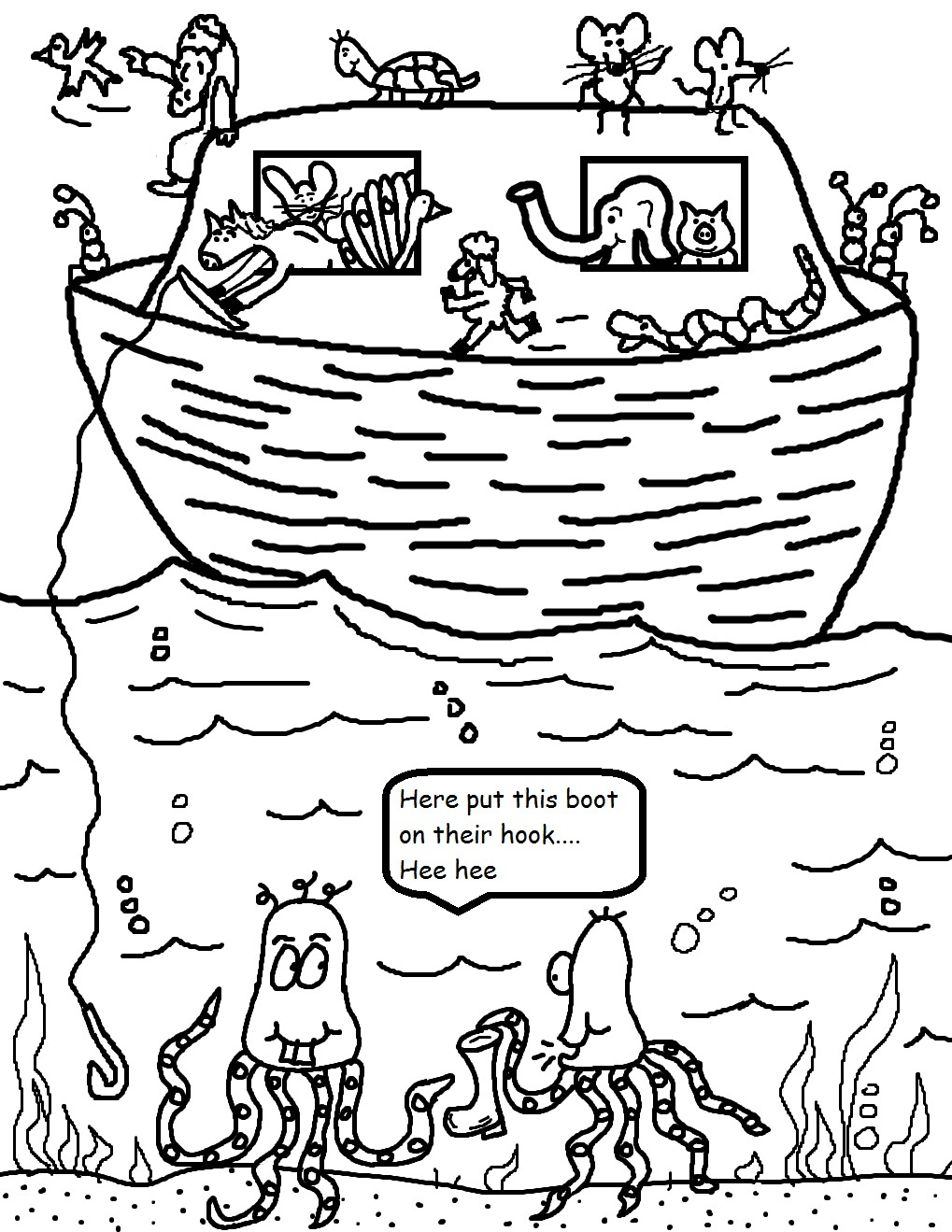 Noahs Ark No Scripture Coloring Pages