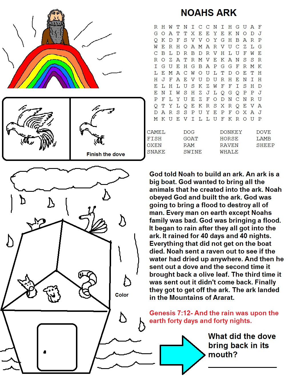 noahs ark sunday lesson plan for kids in sunday
