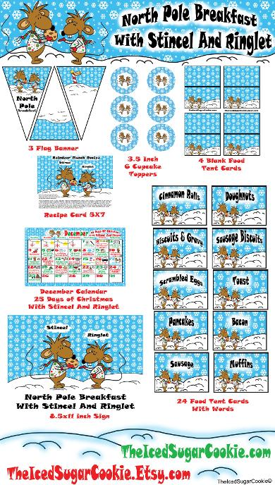 North Pole Breakfast With Stincel and Ringlet-Christmas Party Printables for a family tradition. Food Tent Cards, Flag Banners, Cupcake Toppers, Recipe Card, Activity planner calendar, and Table Sign by TheIcedSugarCookie.com Winter Party For Kids
