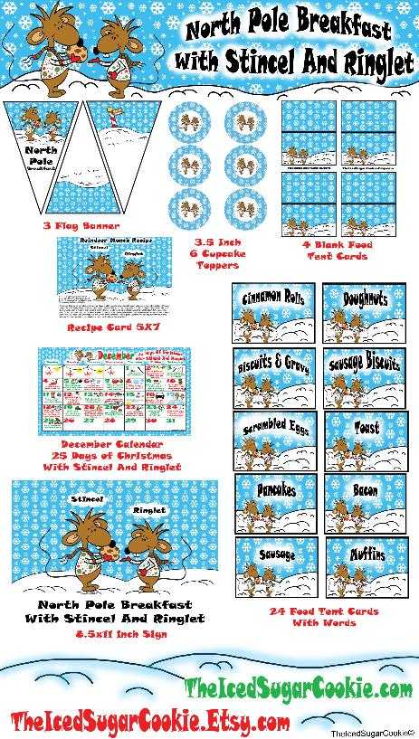 North Pole Breakfast With Stincel And Ringlet- Christmas Party Printables-DIY Ideas Digital Download-Flag Bunting Banners, Cupcake Toppers, Food Label Tent Cards, Recipe Card, Table Decoration Sign, Calendar Activity Planner 25 days of Christmas by The Iced Sugar Cookie www.TheIcedSugarCookie.com