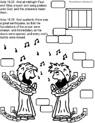 Paul and Silas Coloring Pages- Acts 16:22-26 Paul and Silas in Prison coloring pages