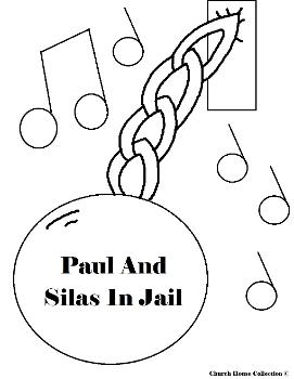 Paul and Silas Coloring Pages- Paul and Silas in Jail coloring pages- Acts 16:25