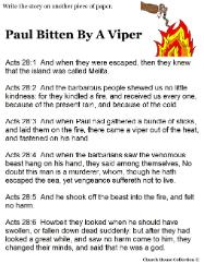 Paul bitten by viper writing activity sheet