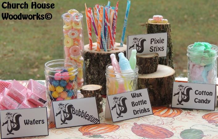 Rustic Wood Place Card Holders For Food Cards- Use for Birthday Party Events- Skunk Woodland Wafers, Bubblegum, Wax bottle drinks, pixie sticks, cotton candy- Wood Supplier
