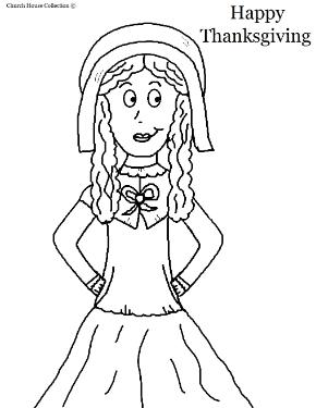 Pilgrim Girl Coloring Page- Thanksgiving Coloring Pages