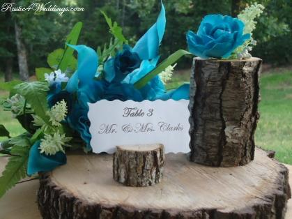 Rustic Blue Wedding Place Card Holders Table Number Holders Ceneterpieces