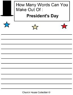 President's Day Worksheet How Many Words Can You Make Out Of: President's Day