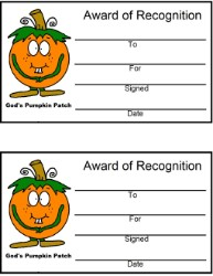 Pumpkin Award Certificate Pumpkin Sunday school lesson- God's Pumpkin Patch Kids Certificate Printable Template Cutout by Church House Collection- Fall Award Certificates Printable Templates