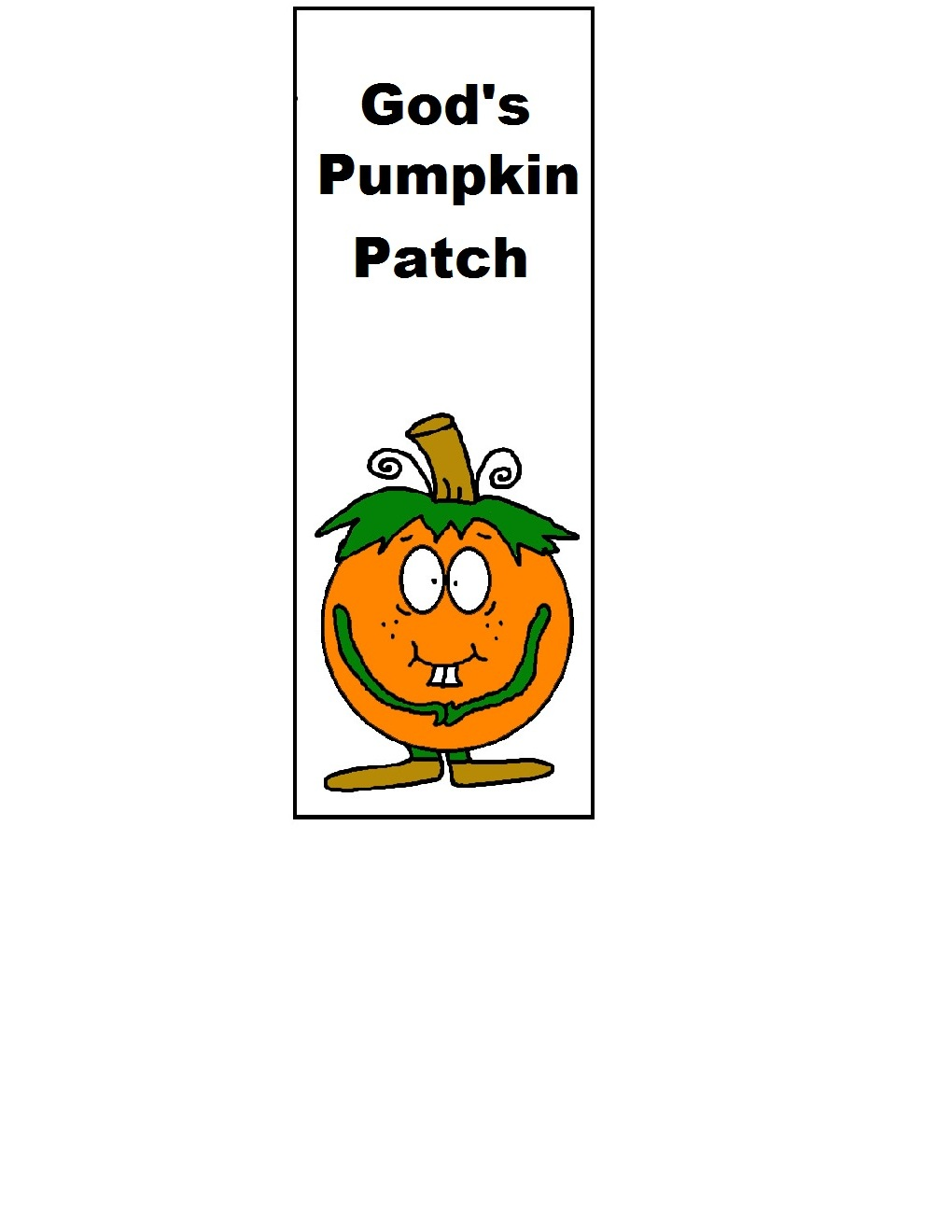God's Pumpkin Patch Bookmark Printable Cutout Template By Church Hosue Collection- Gods Pumpkin Patch- Free Printable Sunday School Bookmarks For Kids