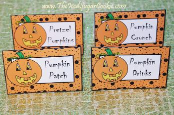Pumpkin Patch Food Label Tent Cards by The Iced Sugar Cookie-Pumpkin Crunch, Pumpkin Patch, Pumpkin Drinks, Pretzel Pumpkins