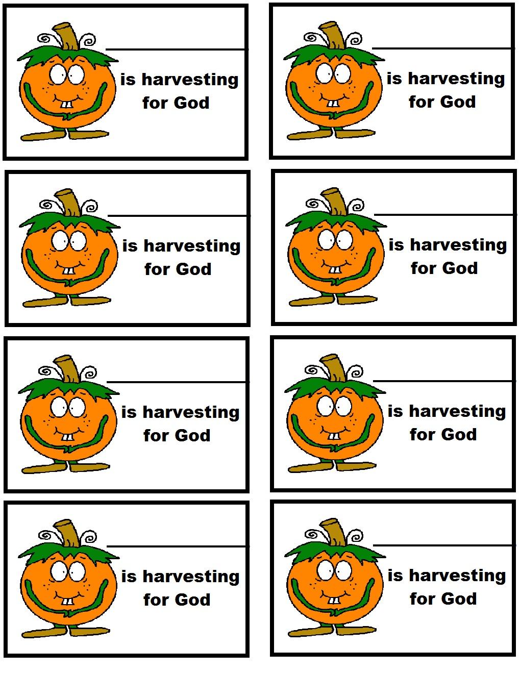 pumpkin harvesting for god name tags
