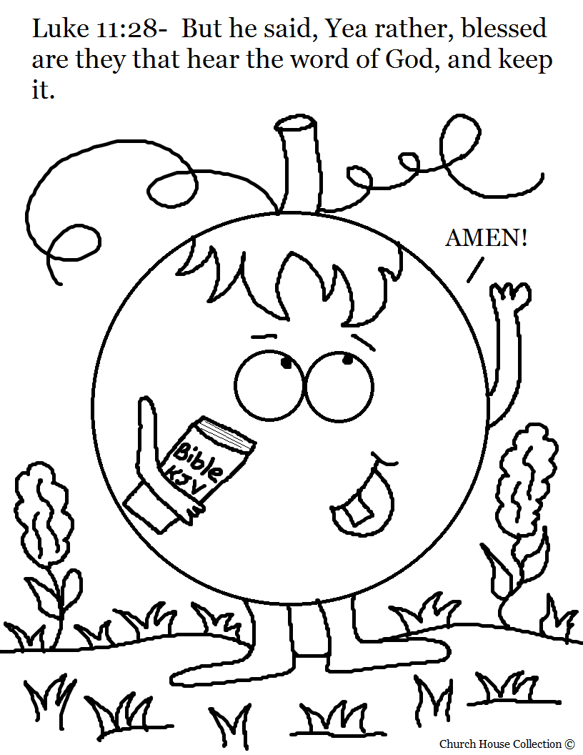 Pumpkin Holding Bible Coloring Page Luke 11 28