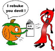 Pumpkin and Devil Sunday School Bible Coloring Pages for preschool kids in Childrens church. Pumpkin Holding a KJV bible saying I rebuke you devil. Fall October Pumpkin devil coloring sheets free printable