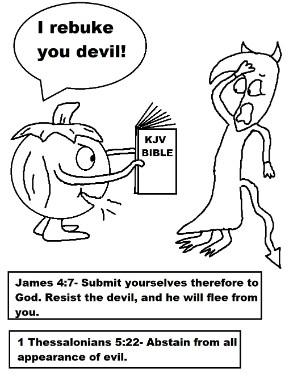 Pumpkin Holding Bible Rebuking Devil Coloring Page