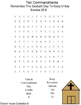 Remember The Sabbath Day To Keep It Holy Word Find Puzzle Ten Commandments