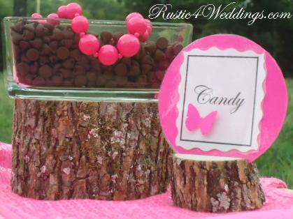 Rustic 4 Weddings Rustic Pink Wedding Candy Buffet Label Holders Wood Place Card Holders