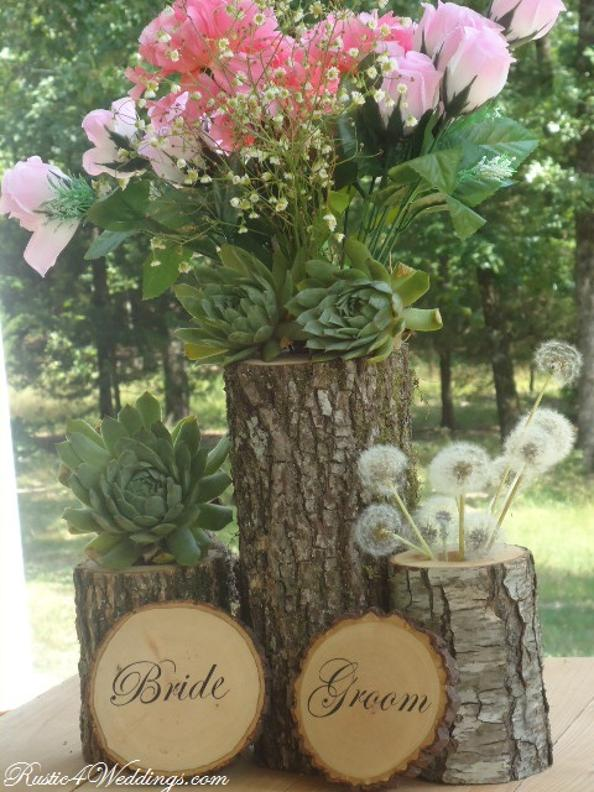 Rustic Wedding Supplies. Bride and Groom Wood Slice Signs. Wood Candle Holders. Tree Branch Flower Holders. Rustic Wedding Cake Server Set.