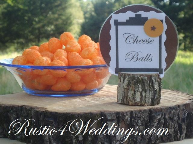 Rustic Wooden Place Card Holders For Sale- by Church House Woodworks- Use for Birthday Party Events and Weddings. Cheeseballs Wood Stump Decoration Ideas