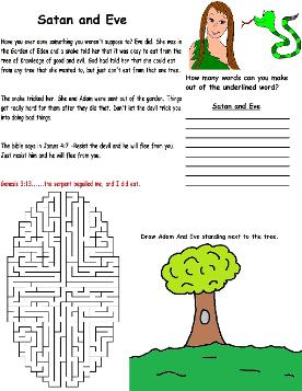 Adam and Eve Wild Card Satan and Eve Wild Card Printable Activity Sheet For Kids