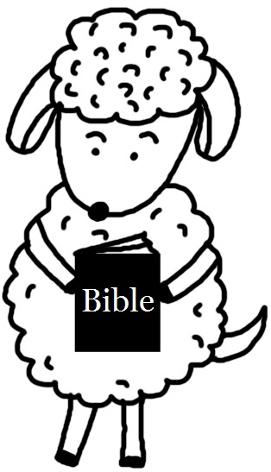 Easter Sunday School Clip Art | Church House Collection | Easter Sheep Holding A Bible Clipart Picture Black And White Cartoon Clip Art | Easter Clipart For Sunday School