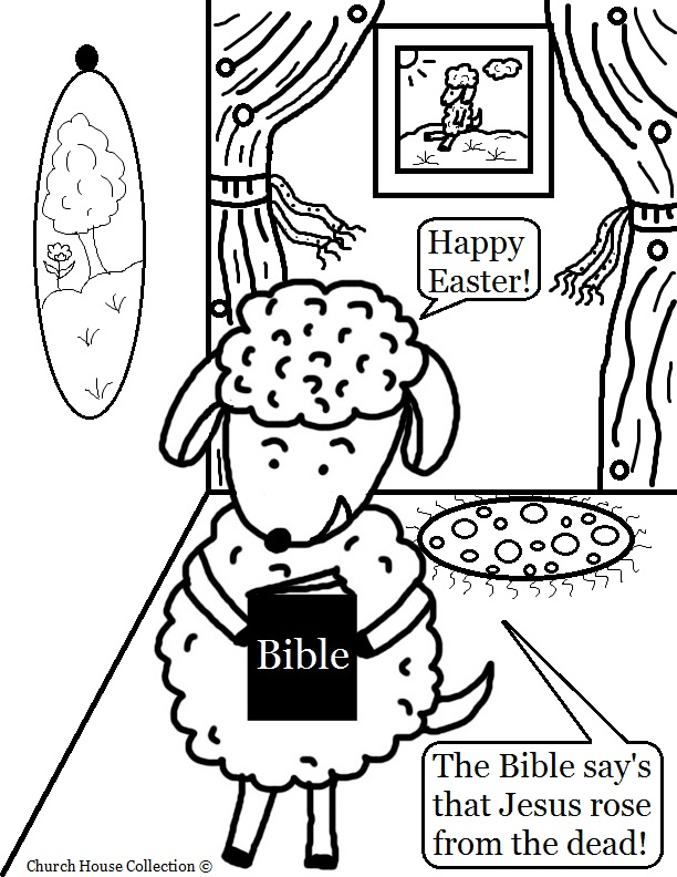 easter sheep with bible coloring page for sunday school