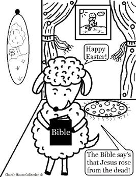 Easter Sheep With Bible Coloring Page  by ChurchHouseCollection.com Easter Sheep Coloring Pages for Sunday School Preschool Kids