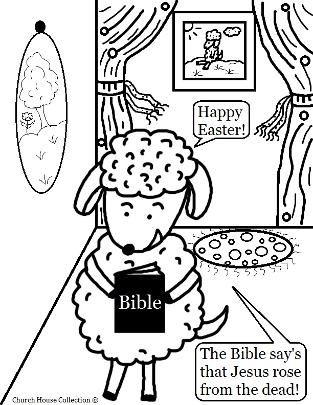 Easter Sheep with Bible Coloring Page For Sunday school Jesus Rose from the dead, Happy Easter