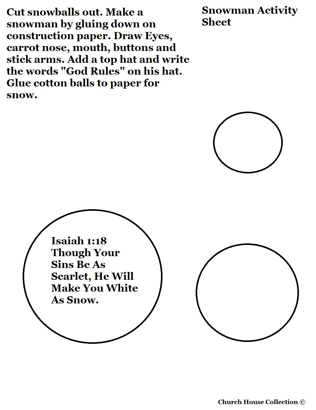 Free Christmas Snowman Cutout Craft For Sunday School Kids By Church House Collection. Snowman Printable Template Cutout Activity for Preschoolers and Toddlers.