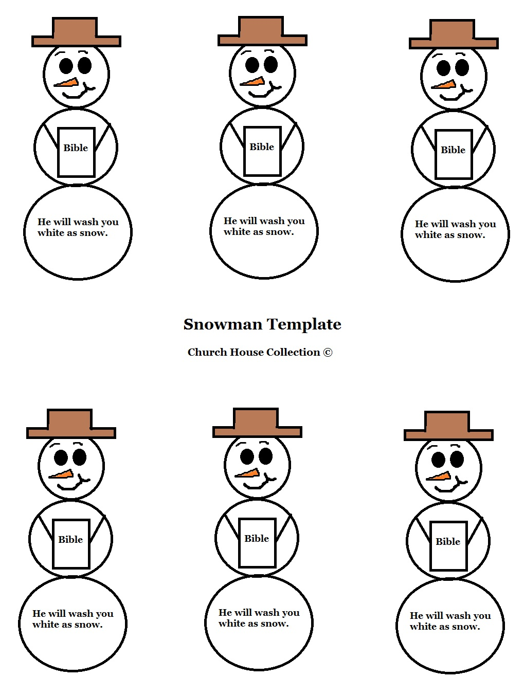 "Free Christmas Snowman Holding A Bible ""He Will Wash You White As Snow"" printable Template Cutout for Kids in Sunday School by Church House Collection"