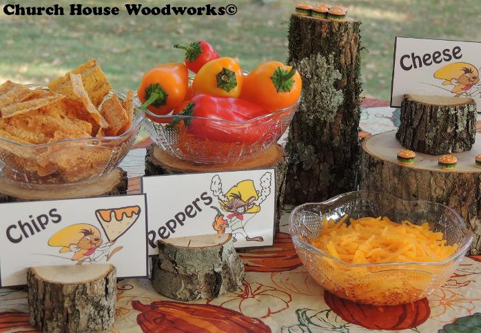 Wood Place Card Holders For Food Cards- Use for Birthday Party Events- Speedy Gonzales Chips, Peppers, Cheese, Decoration Ideas Using Real Wood