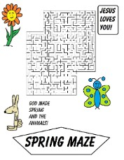 God Made Spring And The Animals Printable Maze by Church House Collection- Sunday School Lessons Plans Free!