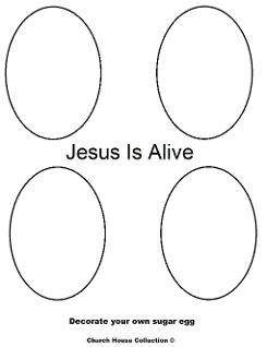 Sugar egg coloring pages- Jesus is Alive- Easter Coloring Pages- DIY Decorate and color eggs coloring pages by ChurchHouseCollection.com Easter Egg Coloring Pages for Sunday School Preschool Kids