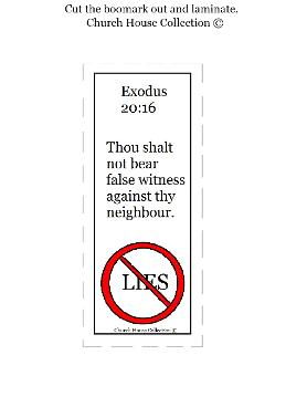 Thou Shalt Not Lie Bookmark For Ten Commandments