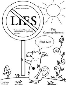 Thou Shalt Not Lie Coloring Page For Ten Commandments