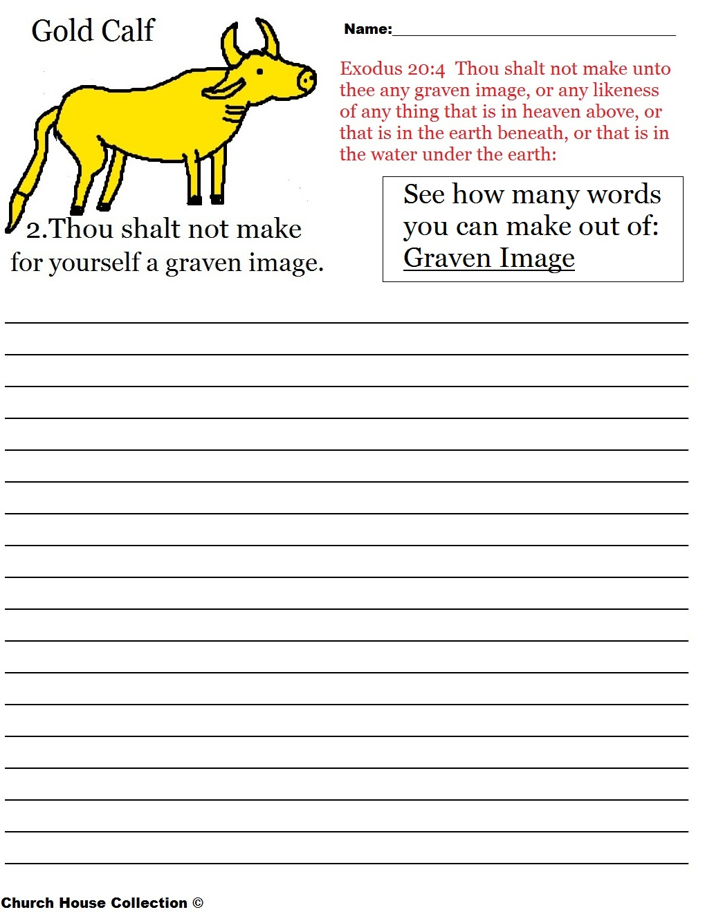 Thou Shalt Not Make For Yourself A Graven Image Word In A Word – Ten Commandments Worksheets