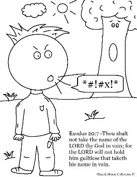 Thou Shalt Not Take The Name Of The Lord Thy God In Vain Coloring Page