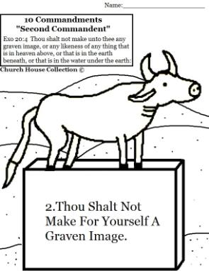 Thou shalt not make for yourself a graven image coloring page for 1st commandment coloring page