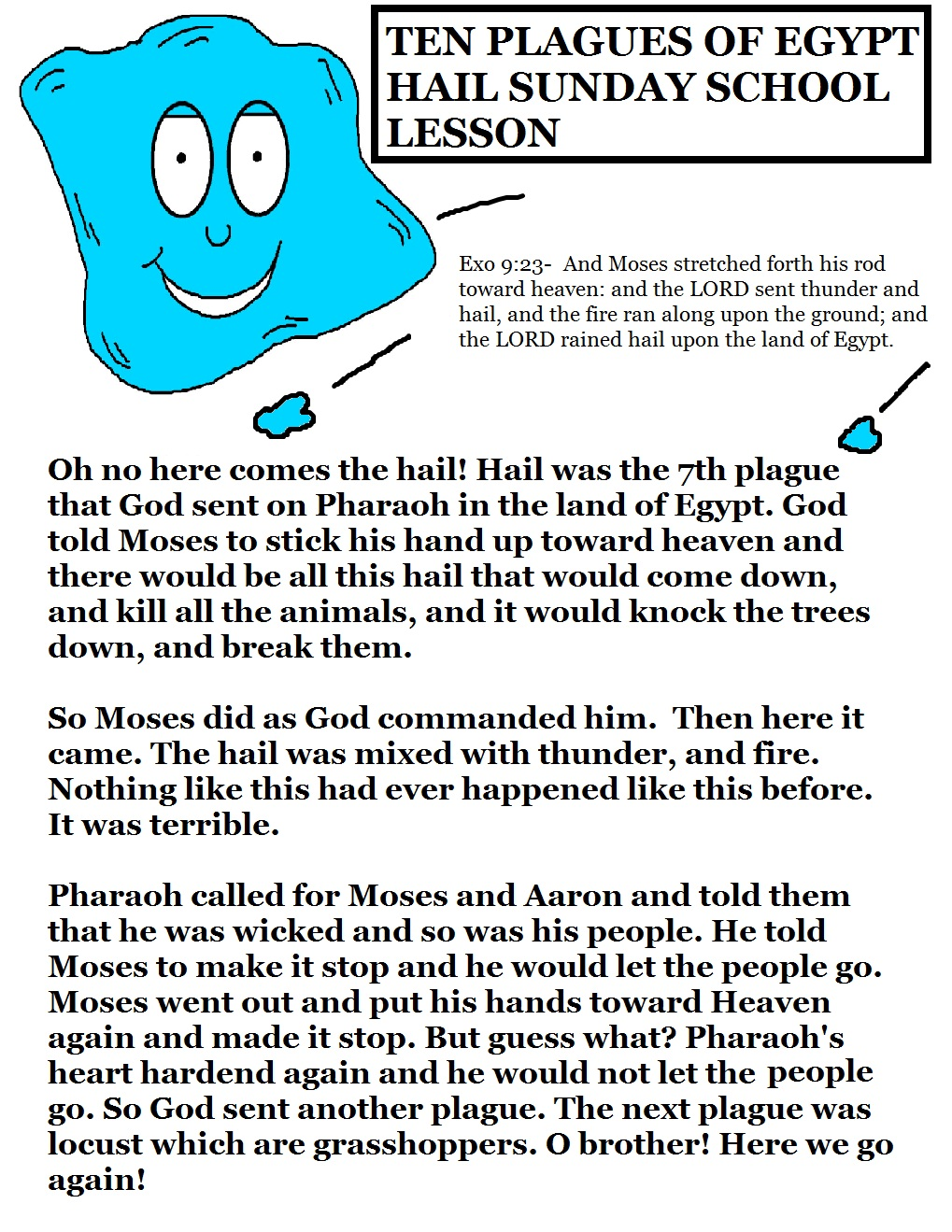 The 10 Plagues of Egypt Hail Lesson