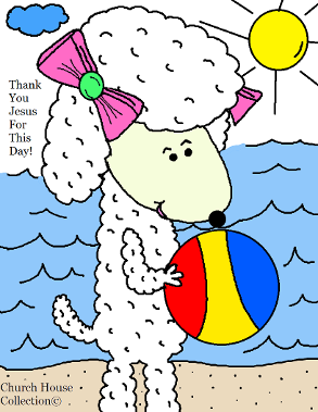 Sheep With Beach Ball Coloring page