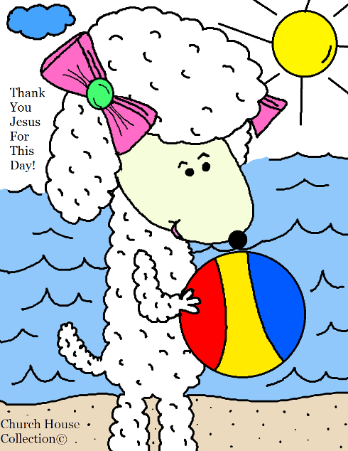 Thank You Jesus For This Day Sheep With Beach Ball Summer Coloring Page by Church House Collection©